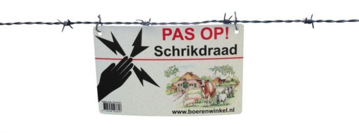 """Hofman Waarschuwingsbord """"PAS OP Schrikdraad"""""""
