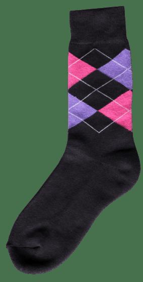 Excellent Ruitersok d.grijs/roze/paars
