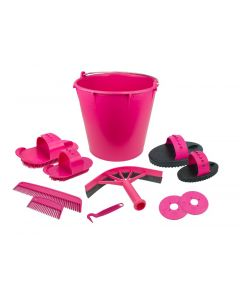 Hofman Poetsset van 10 items in emmer roze