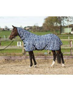 Harry's Horse Vliegendeken mesh met hals & singels, zebra medieval blue