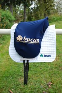 Bucas Max voorgevormde zadelhoes blauw Bucas Logo